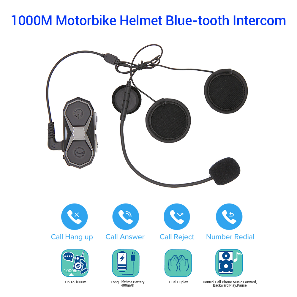 BOBLOV WT005 Long Range 1KM Motorcycle Bluetooth Wireless Helmet Headset Headphone Interphone 3.0+EDR A2DP Speakers Intercom