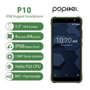 Купить Poptel P10 ультратонкий прочный смартфон 5,5 дюймов , четыре ядра , android 8,1 , 4g , мобильный телефон, 4 Гб + 64 ГБ , NFC OTG, разблокированные телефоны, можно ...