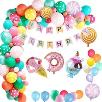 Juego de arco de juegos de globos de aluminio para niños, Donut de dulces, helado, luna, estrella, decoración de colores para el hogar