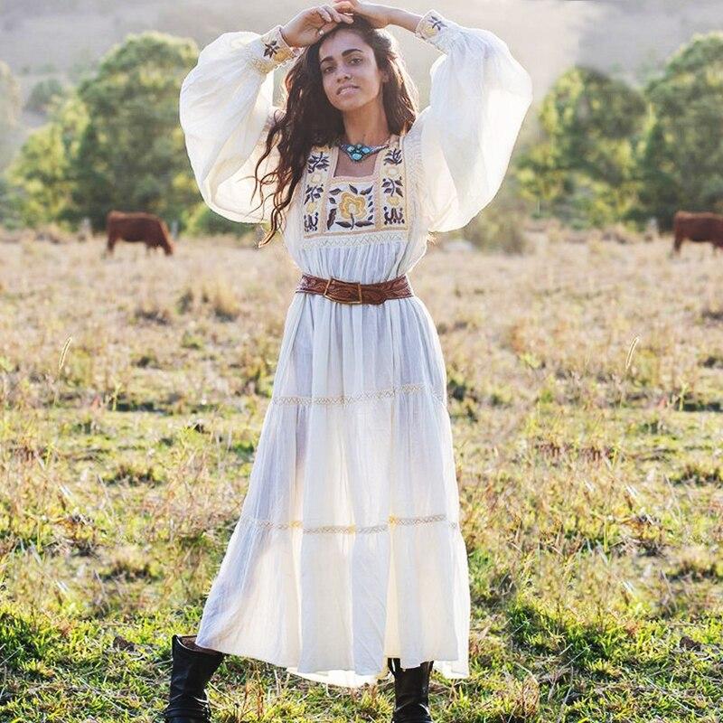 TEELYNN tunika weiß kleid 2019 floral stickerei langarm strand sommer kleider lose Gypsy boho frauen kleider lange vestidos-in Kleider aus Damenbekleidung bei AliExpress - 11.11_Doppel-11Tag der Singles 1