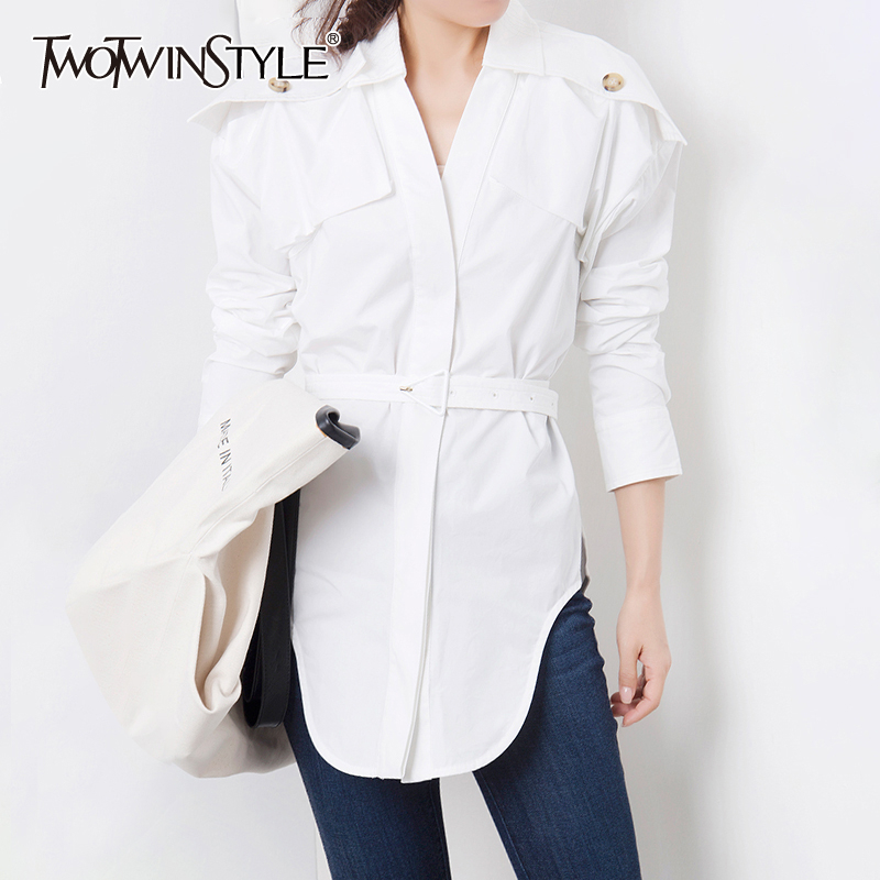 TWOTWINSTYLE Korean White Women's Shirt Lapel Collar High Waist With Sashes Irregular Hem Shirts Female 2020 Autumn Fashion New