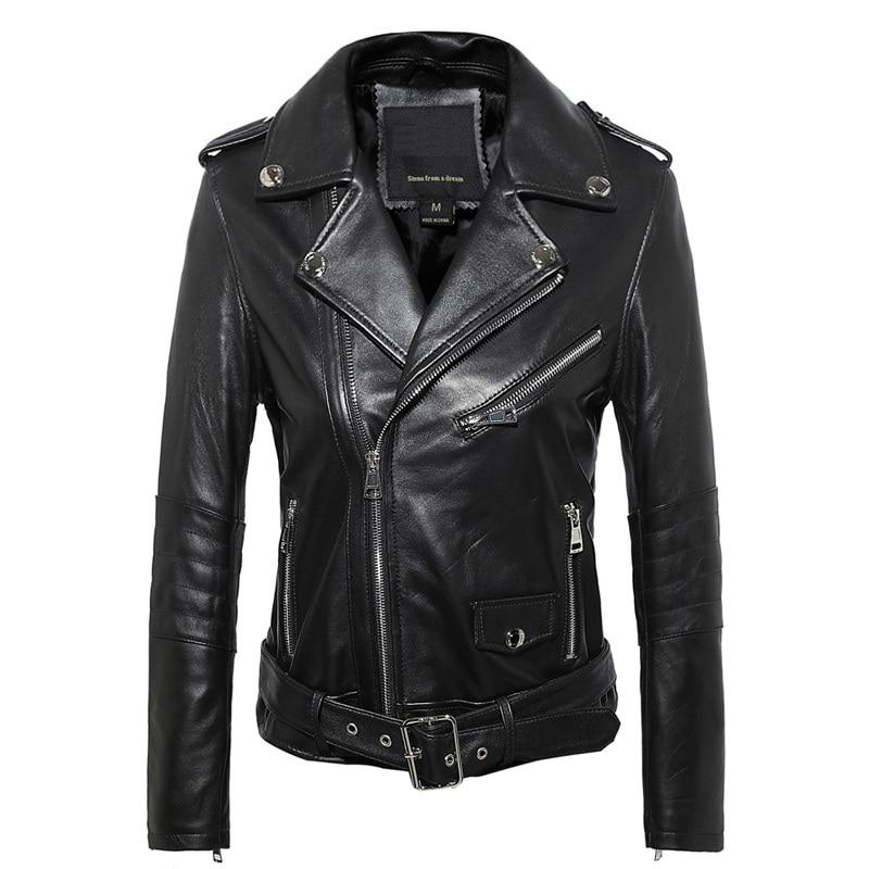 Free Shipping,Genuine Leather Woman Slim Leather Jackets.fashion Motorbiker Asian Size Female Sheepskin Jacket Brand Plus