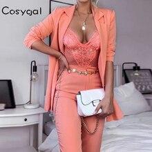 COSYGAL, осень, Модный комплект с курткой для офисных леди, сексуальный женский костюм, прямые брюки, вечерние, Клубные наряды, Женский комплект 2 шт. костюм