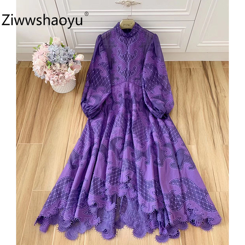 Ziwwshaoyu Designer Brand Grid Embroidery Applique Bow Collar Big Lantern Sleeve High-End Party Maxi Dresses Women's Clothing