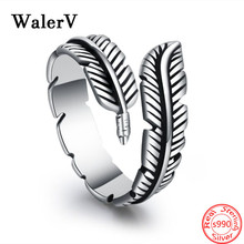 New for Women S990 Sterling Thai Silver Retro Classic Angel Feather Open Ring Jewelry 925 Rings