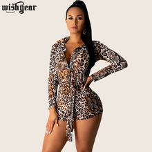Wishyear Spring Autumn Leopard Print Women Playsuit Sexy Turn-down Collar Long Sleeve Shirts Top Shorts Jumpsuit Club Romper girls plaid blouse 2019 spring autumn turn down collar teenager shirts cotton shirts casual clothes child kids long sleeve 4 13t