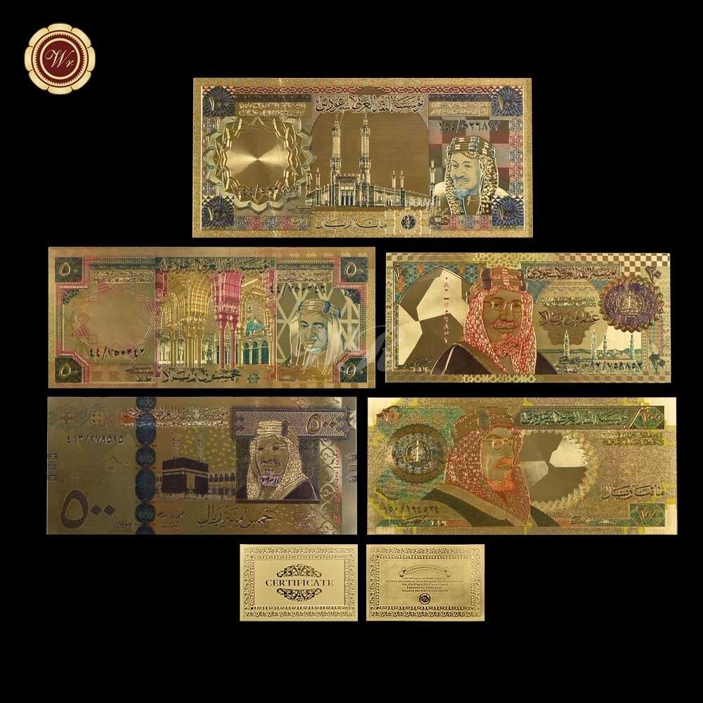 WR Produtos Cor de Ouro Arábia Saudita Arábia 50 Rial Banknote coleção Home Decor Decoração melhor presente para casa