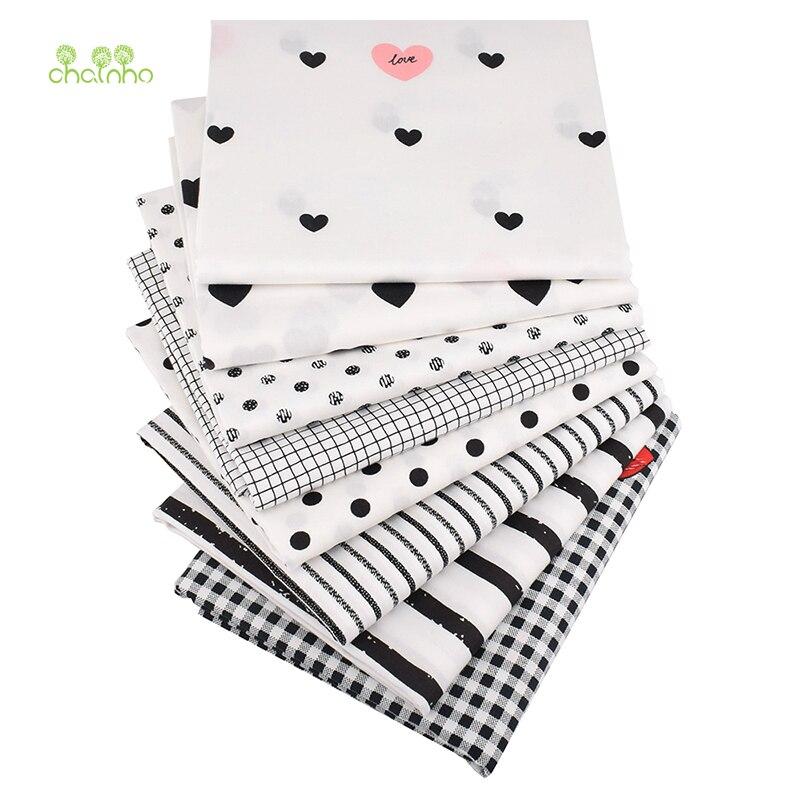 Chainho,8 шт./лот, черная Геометрическая, Printec Twill хлопковая ткань, Лоскутная Ткань для шитья своими руками, для детей и малышей, 40х50см