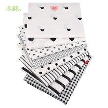 Chainho,8 pçs/lote, preto geométrico, printec sarja tecido de algodão, retalhos pano para diy estofando costura bebê & criança material, 40x50cm