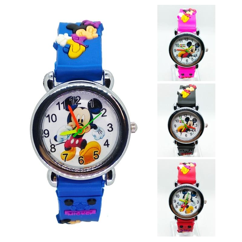 3D Cartoon Lovely Mickey Kids Girls Boys Students Quartz Wrist Watch Children Popular Watches Spiderman Mouse Regarder Clock