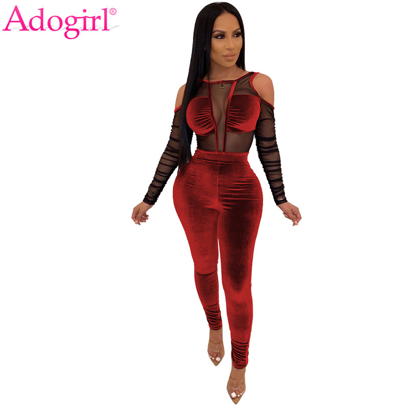 Adogirl Sheer Mesh Patchwork Velvet Jumpsuit Women Sexy Cold Shoulder Long Sleeve Skinny Romper Night Club Overalls Bodysuits