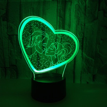 Valentines day Girlfriend Gift Colorful 3D Night light Love Heart Lamp for Table Lamp Home Decor Lovers Date Gift
