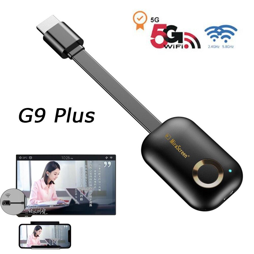 TV Stick Chromecast Mirascreen G9 Plus 2,4G/5G 4K Dongle Wifi HDMI para Netflix Youtube Spotify Chromecast Mirror Screen Airplay