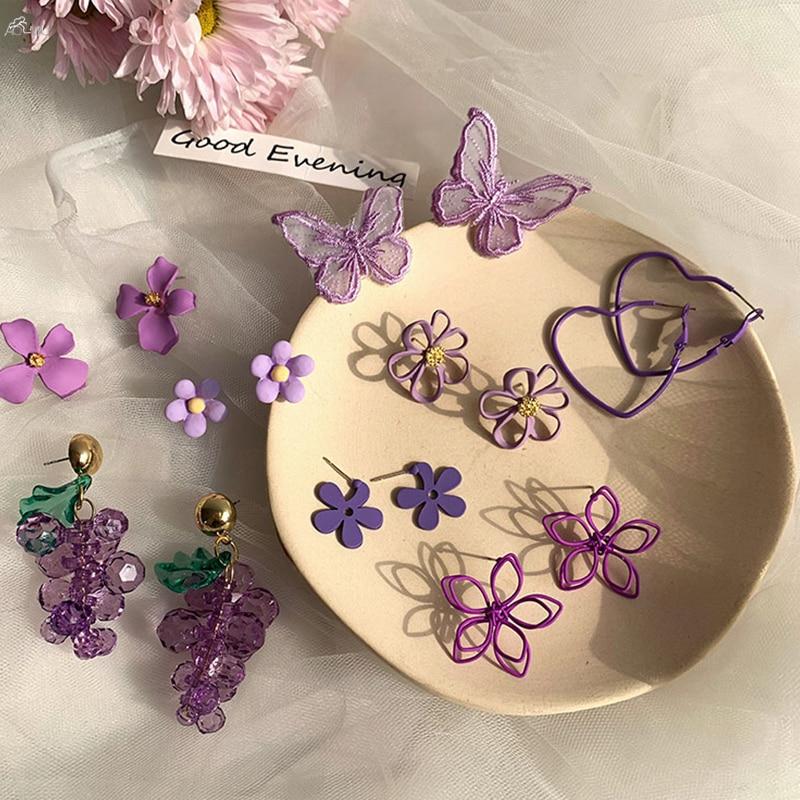 AOMU 2020 New Sweet Purple Geometric Flowers Butterfly Grape Crystal Stud Earrings For Women Party Jewelry Gifts