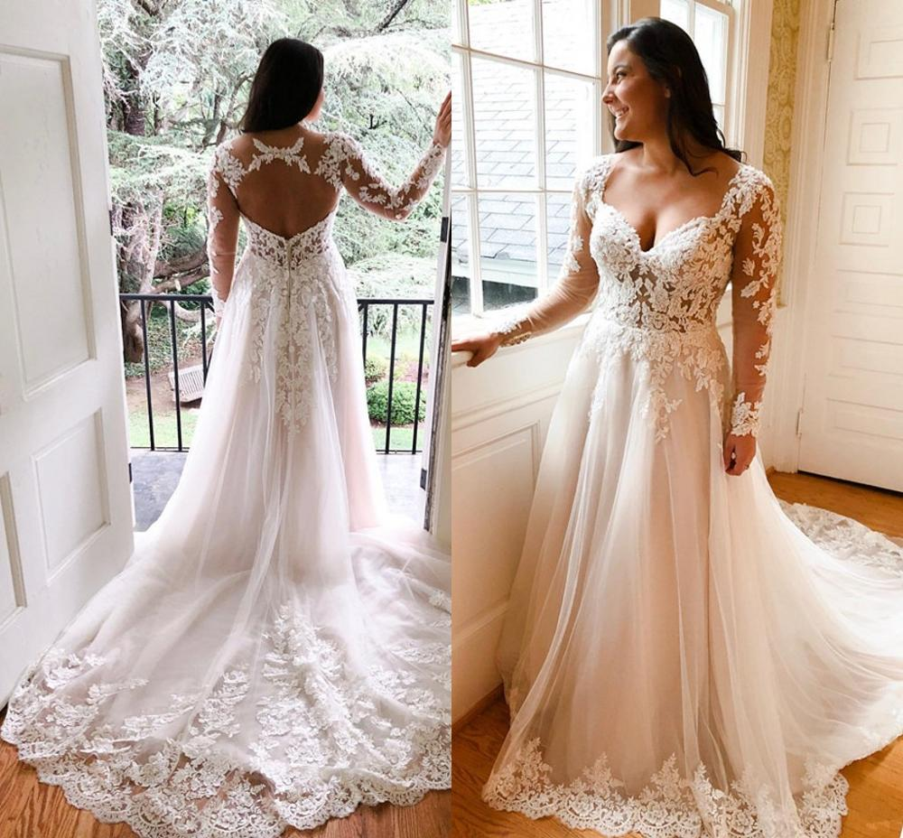 Plus Size Wedding Dresses With Long Sleeve 2020 Modern Backless Sweep Train Lace Applique Country Beach Holiday Bride Gown