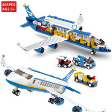 463Pcs City International Airport Airbus Aircraft Airplane Plane Building Blocks Sets Figures LegoINGLs Bricks Toys for Children