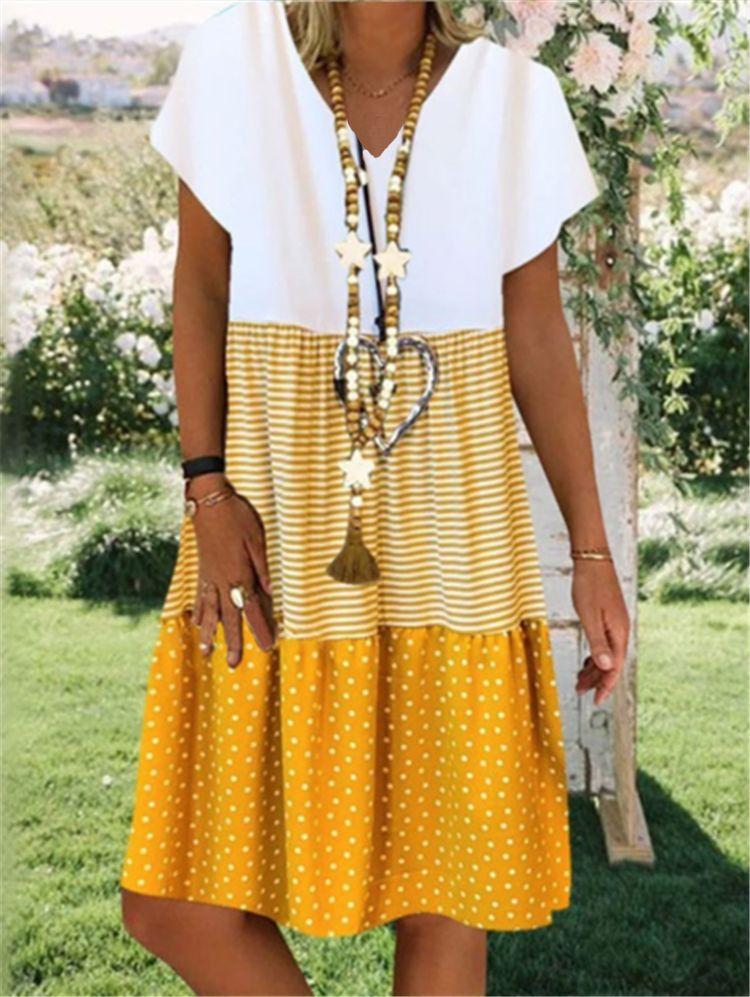 Large Size Women's Dresses Digital Print Short Sleeve V-neck Dresses Boho Sundress Women Summer Casual Loose Dress Plus Size