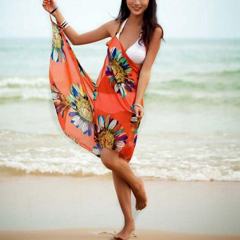 2021 Printed Cover ups Sexy Beach Dress Women Halter Sling Chiffon Beach Towel Bikini Wrap Pareo Skirts Open Back Swimwear