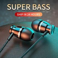 Langsdom Metal Bass Wired Headphone 3.5MM In ear Earphones with Microphone Hifi Earpiece Headset for Phone Xiaomi Samsung Huawei
