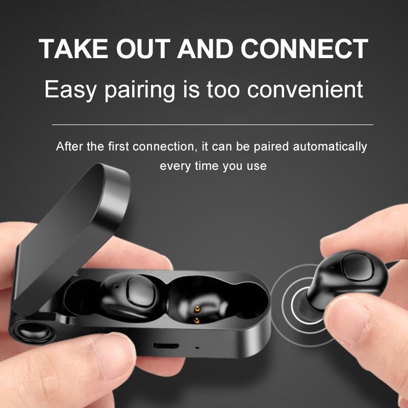 Image 4 - Super Light Portable Bluetooth Earphone Button Control Bluetooth Headset Binaural Stereo Sport Earbuds With Mic Charging BoxBluetooth Earphones & Headphones   -
