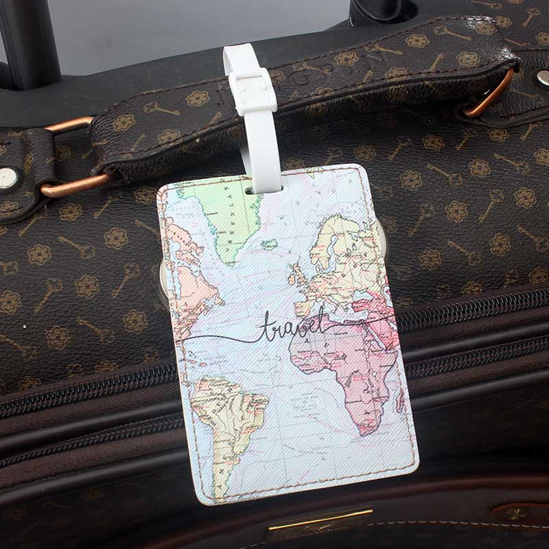 Creative World Map High Quality Travel Accessories Luggage Tag PU Suitcase ID Addres Holder Baggage Boarding Tag Portable Label