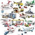 Passagier Flugzeug sets modell bausteine Stadt Flugzeug ziegel Internationalen Flughafen airlines station kinder spielzeug