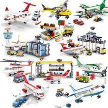 Avião de passageiros conjuntos modelo blocos de construção cidade avião tijolos aeroporto internacional linhas aéreas estação crianças brinquedos