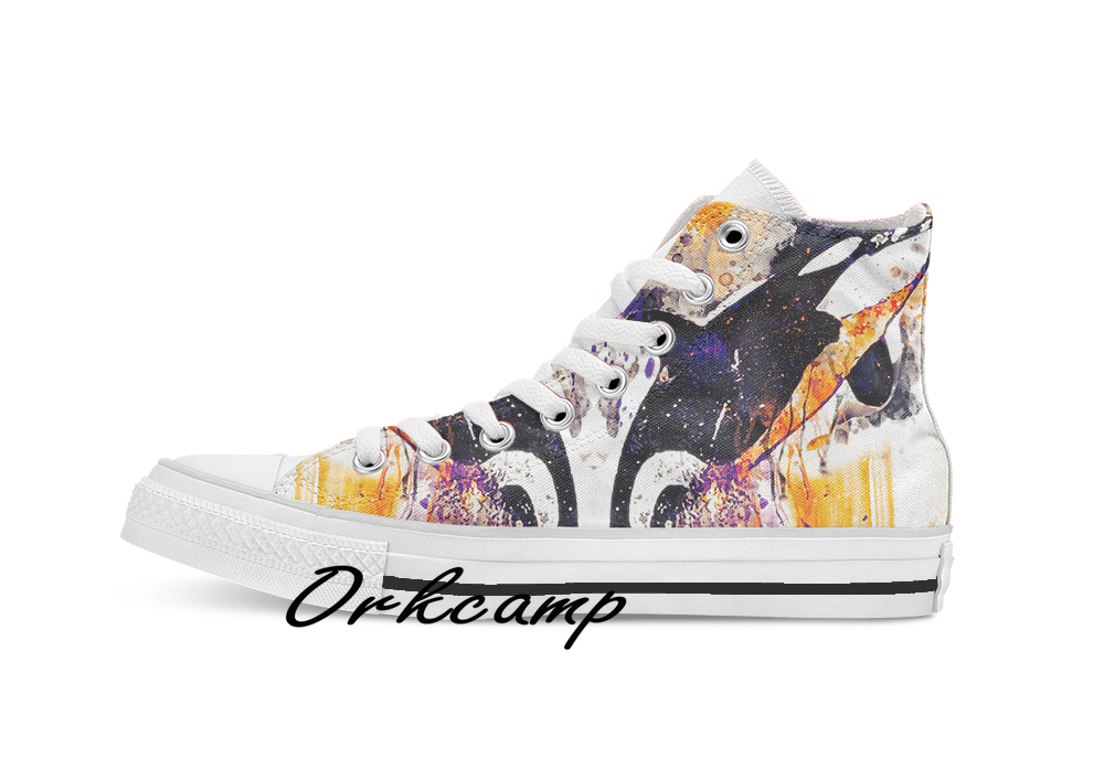 Whale Watercolor Painting   Custom Casual High Top Lace-up Canvas Shoes Sneakers Drop Shipping
