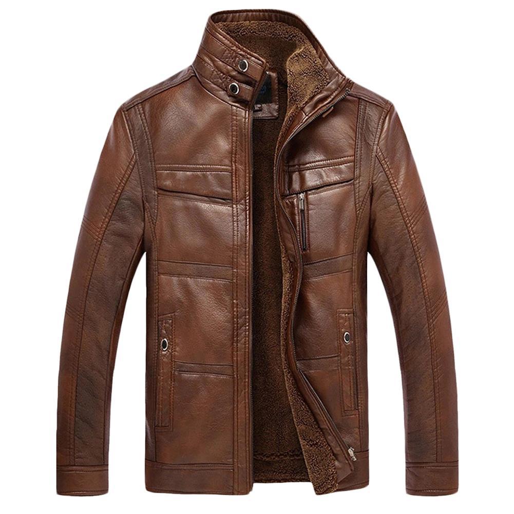 Men Long Sleeve Stand Collar Faux Leather Fleece Lined Zip Warm Short Jacket Men's Solid Color Zippered High Neck Jacket