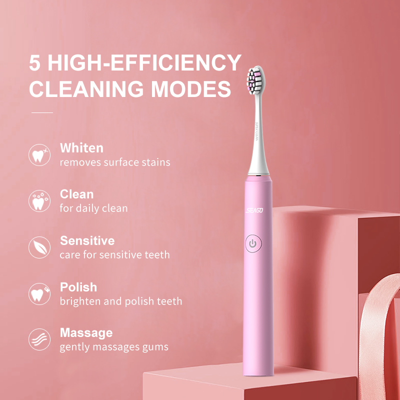 SEAGO Electric Toothbrush USB Fast Rechargeable Sonic Automatic Replacement Tooth Brush Adult Waterproof Whitenig Best Gift