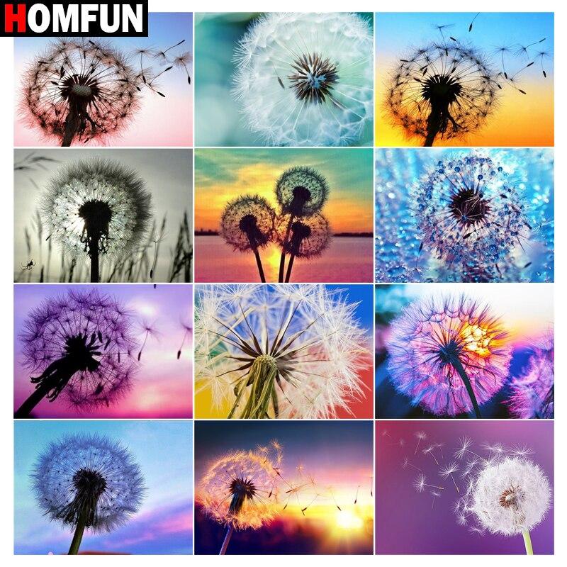 Алмазная 5d картина HOMFUN, полноразмерная/круглая картина «Одуванчик, цветовое небо», стразы, для творчества, вышивка, домашний декор
