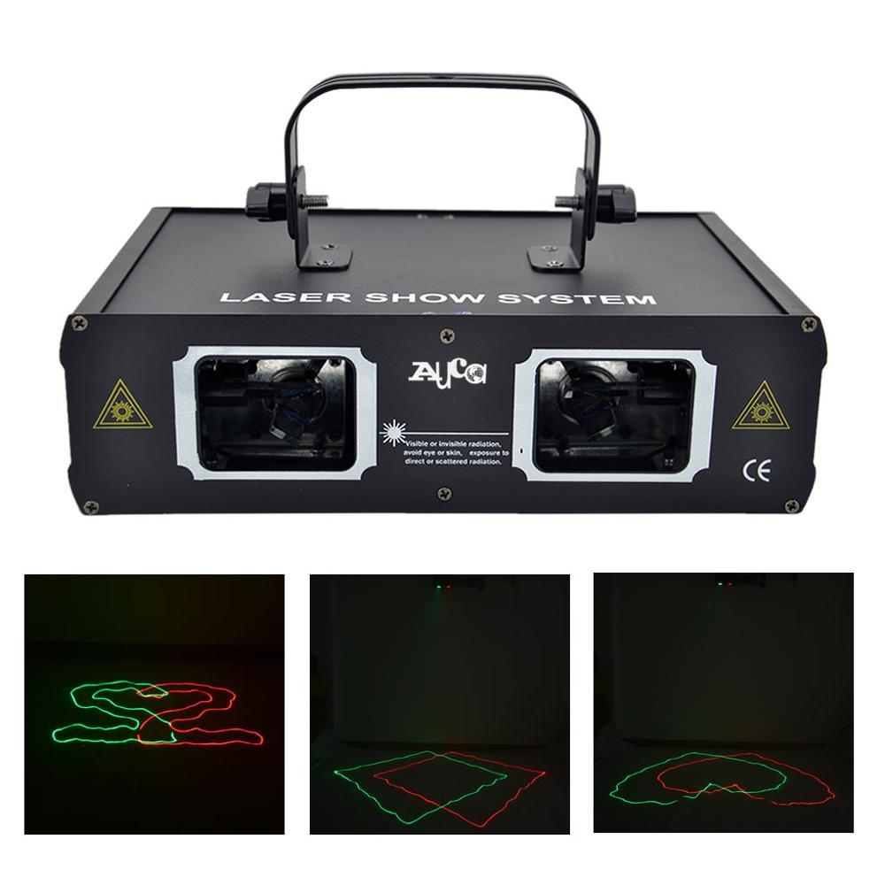 AUCD 2 Lins Rödgrön Beam Scan Projektor Laserlampor 7 CH DMX Yrke Disco DJ Home Party Bar LED Show scenbelysning 506RG