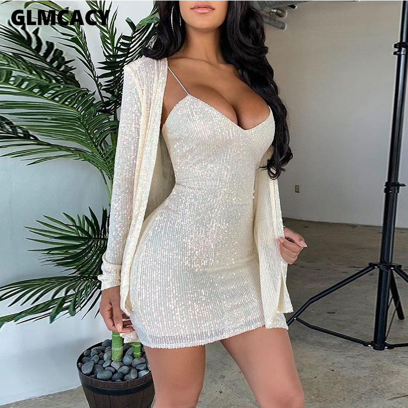 Women Two Piece Matching Sets Shining Saprkly Sequined Top & Spaghetti Strap Plunge V-neck Dress Elegant Party Suit