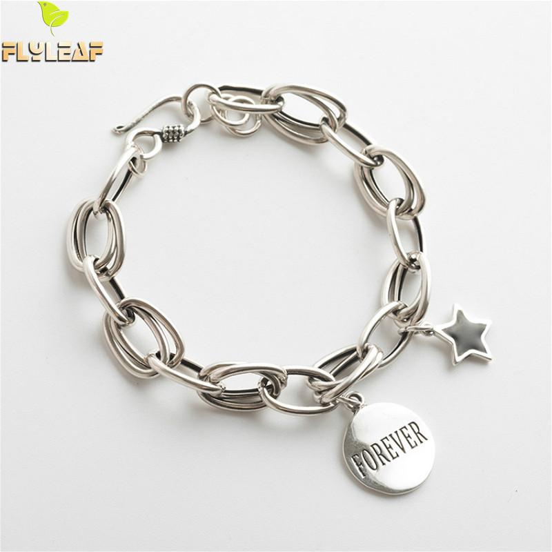 Flyleaf Thick Chain Do The Old Round Star Letter Bracelets & Bangles Real 925 Sterling Silver Bracelets For Women Fine Jewelry