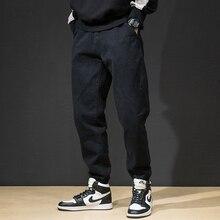 Модная уличная одежда, мужские джинсы, свободный крой, черный, синий цвет, брюки-карго, шаровары, джинсы с низкой посадкой, джинсы в стиле хип-хоп, Мужские штаны для бега