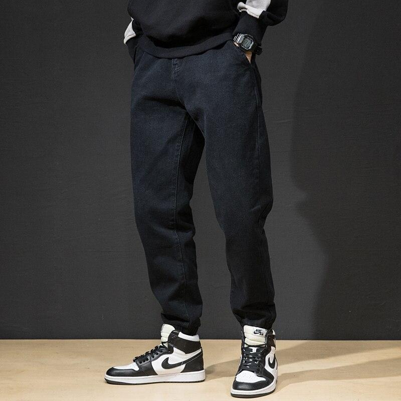 Fashion Streetwear Men Jeans Loose Fit Black Blue Color Cargo Pants Harem Jeans Slack Bottom Hip Hop Jeans Men Joggers Pants