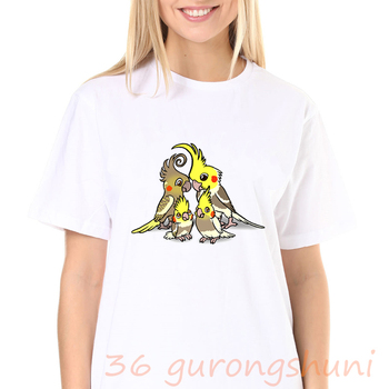 Camisetas Arco Iris cacatúa, loro verano top harajuku acuarela camiseta mujeres punk coreano 90s estético ropa mujer camiseta kpop