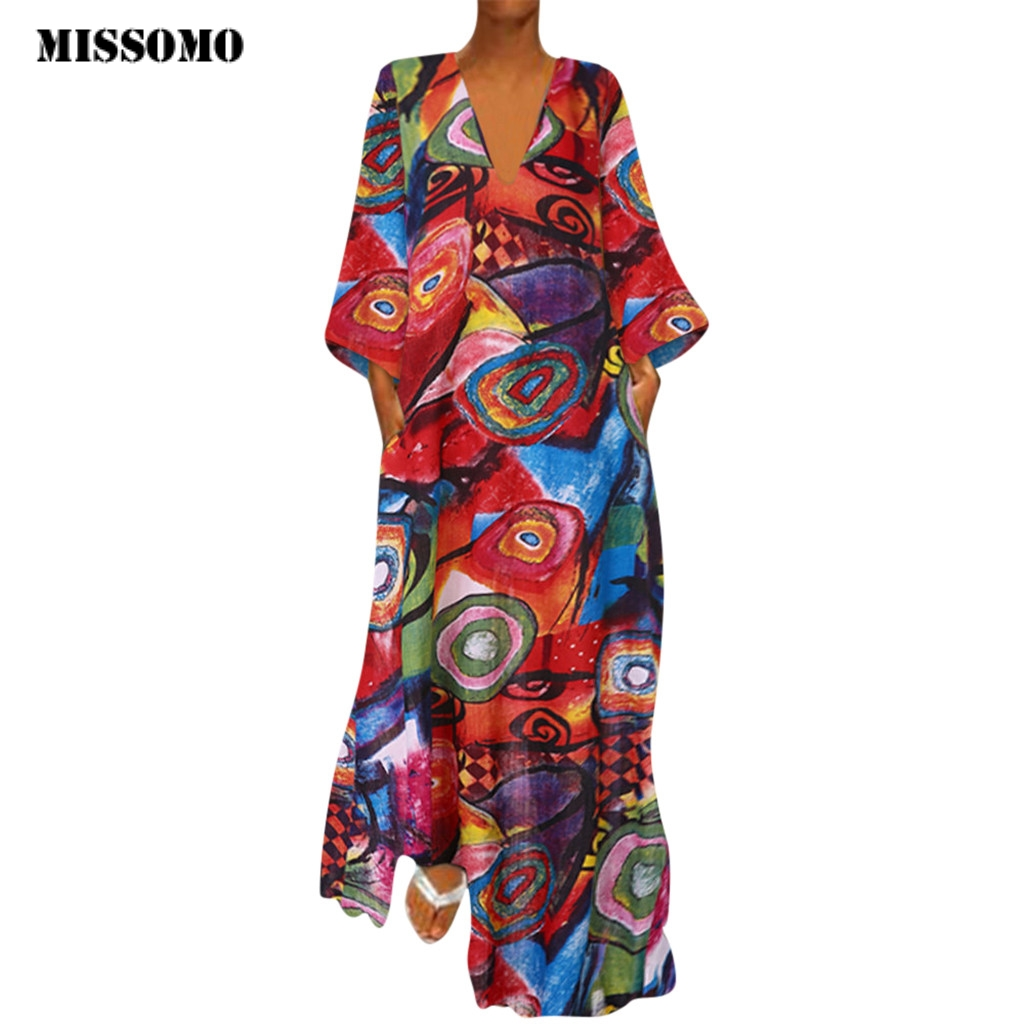 MISSOMO Plus Size Women Dress Vestidos Vintage Maxi Dress V Neck Ethnic Printed Long Sleeves Casual Summer Dress 2019 Robe Femme