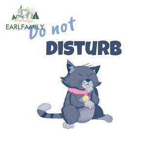 EARLFAMILY 13cm x 10.8cm for Do Not Disturb Grey Cat Windows Car Stickers Anime Scratch-Proof Decal Personality Vinyl Car Wrap