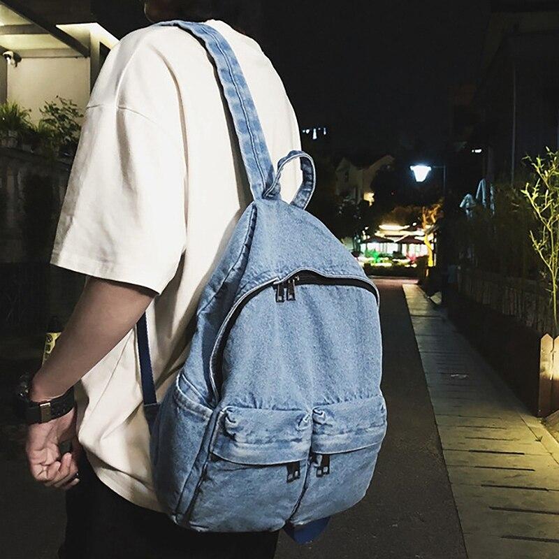 Vintage Washed Denim Backpack Multifunctional Travel Bag For Girls School Bags