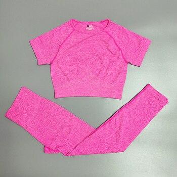 4PCS Seamles Sport Set Women Purple Two 2 Piece Crop Top T-shirt Bra Legging Sportsuit Workout Outfit Fitness Wear Yoga Gym Sets 27