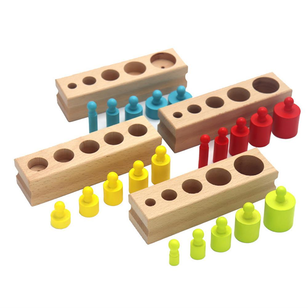 Colorful Cylinder Blocks Wooden Montessori Children Educational Toys New