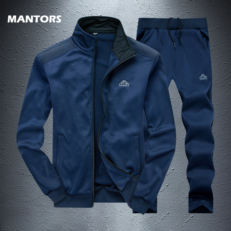 Sports Suit Brand Mens Tracksuits Solid Sportswear Sweatshirts+Pants Man 2 PCS Sets Autumn Winter Fleece Set Casual Sweatsuit