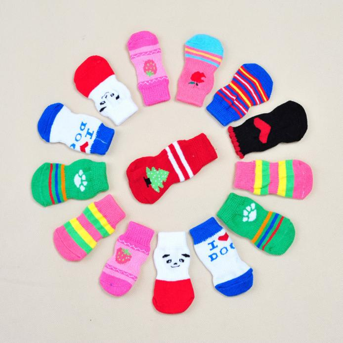 Fashion Dogs 4Pcs Socks Cute Puppy Dogs Pet Knits Socks Anti Slip Skid Bottom Socks
