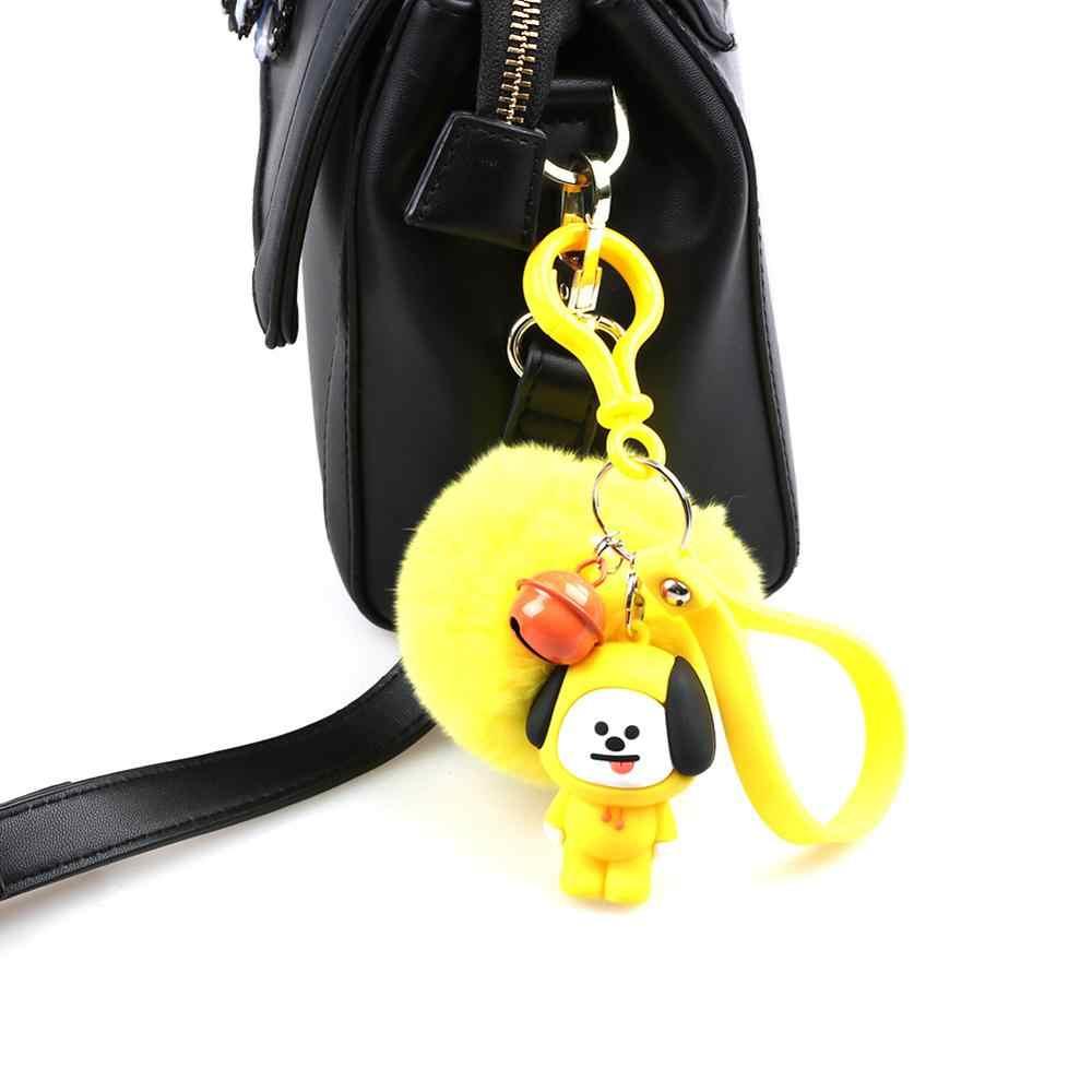 KPOP bonito dos desenhos animados Bola De Pêlo estrela bt21 Plush animais Keychain bag Pingente de Chave anel Titular Tata Chimmy Bolsa Charme Para meninos meninas