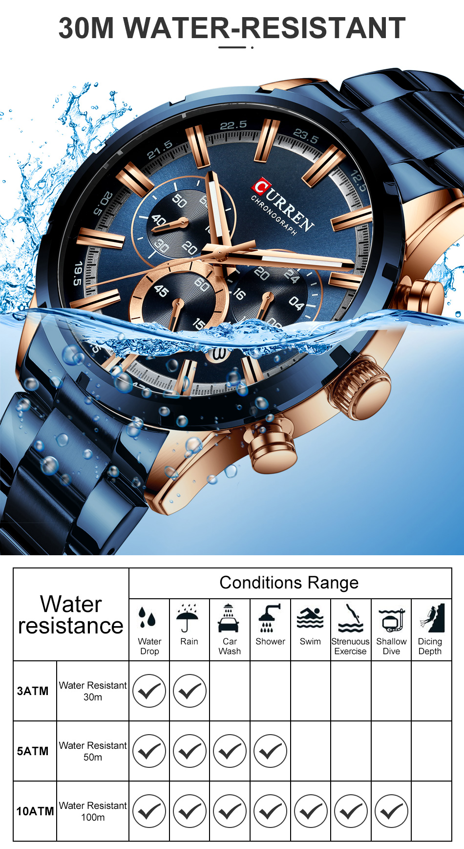H70d5ec49126f46b7aa19489cc3b128feb CURREN Men Watch Top Brand Luxury Sports Quartz Mens Watches Full Steel Waterproof Chronograph Wristwatch Men Relogio Masculino