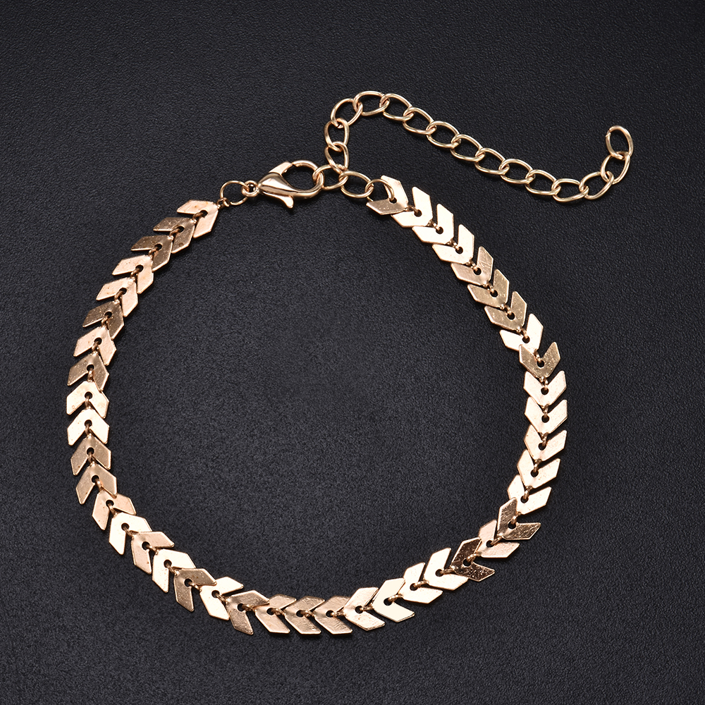 Summer Fishbone Gold Silver Color Anklets Fashion Ankle Foot Jewelry Leg Chain on Foot for Women Gifts