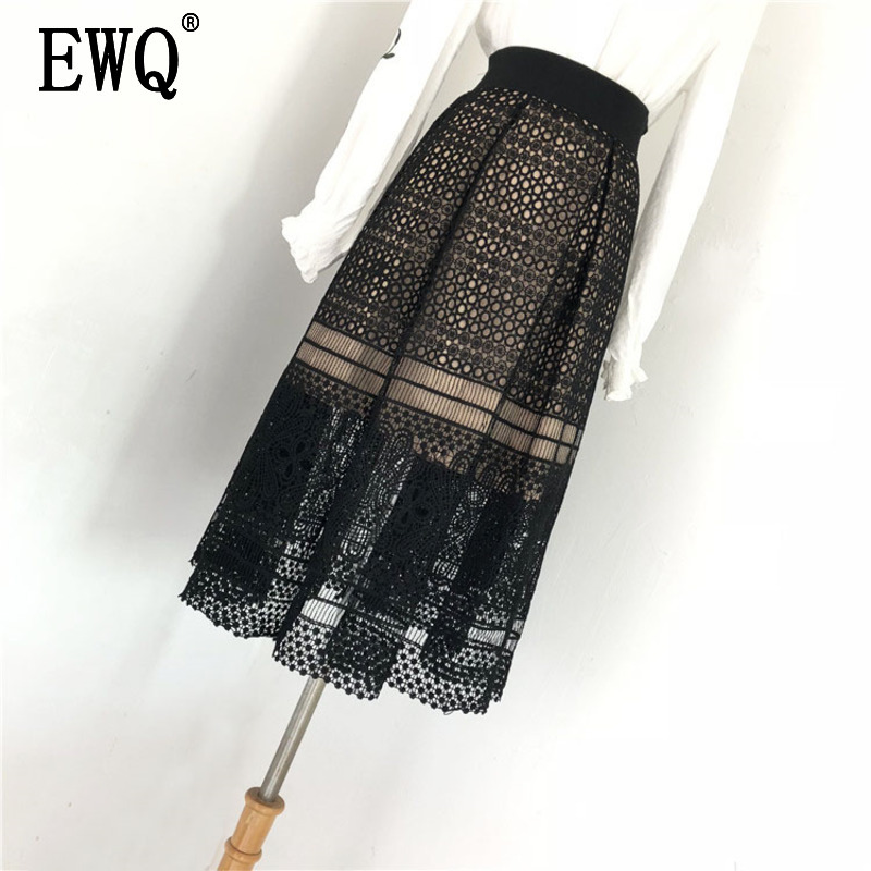 [EWQ] 2020 New Spring Summer High Waist Hollow Lace Loose Casual Pleated Temperament Mid-calf Skirt Fashion Tide Women OB563