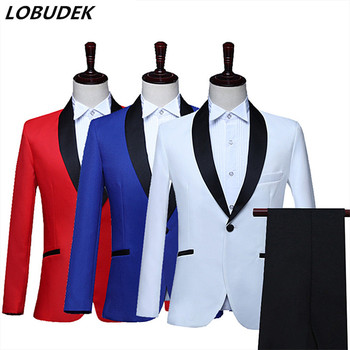Solid Red Blue White Men's Suits Male Wedding Groom Dress Prom Evening Party Singer Host Stage Suit 2 Pieces Set Costume Outfit