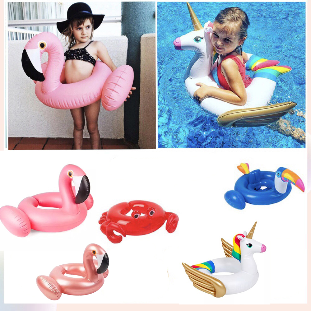 New Hot Sale Baby Flamingo Toucan Unicorn Swimming Float Inflatable Adjustable Ring Safety Baby Infant Swimming Rings Water Toys